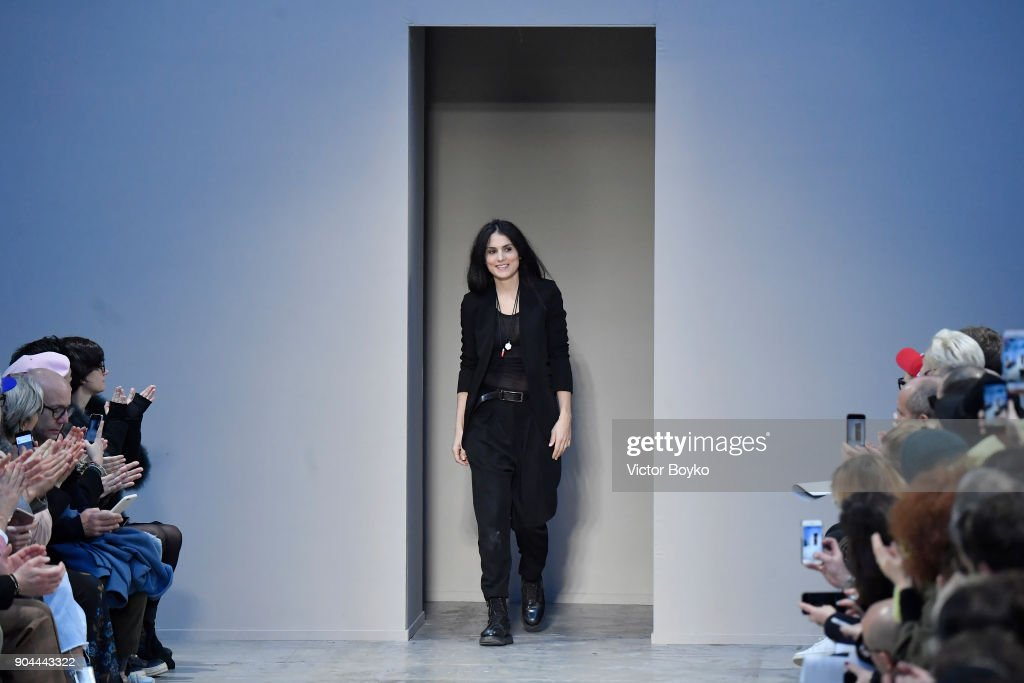 Designer Isabel Benenato acknowledge the applause of the audience at the Isabel Benenato show during Milan Men's Fashion Week Fall/Winter 2018/19 on January 13, 2018 in Milan, Italy.