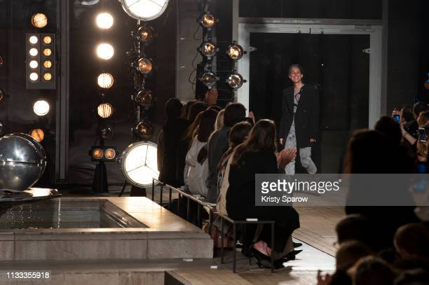 Designer Isabel Marant acknowledges the audience during the Isabel Marant show as part of Paris Fashion Week Womenswear Fall/Winter 2019/2020 on...