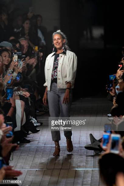 Designer Isabel Marant acknowledges the audience during the Isabel Marant Womenswear Spring/Summer 2020 show as part of Paris Fashion Week on...