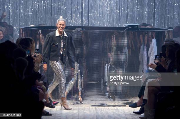Designer Isabel Marant acknowledges the runway during the Isabel Marant show as part of Paris Fashion Week Womenswear Spring/Summer 2019 on September...