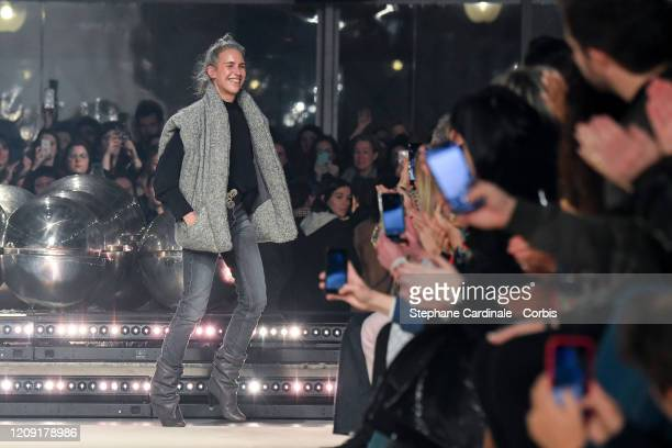 Designer Isabel Marant walks the runway during the Isabel Marant show as part of the Paris Fashion Week Womenswear Fall/Winter 2020/2021 on February...