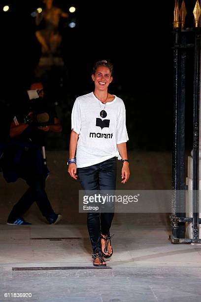 Designer Isabel Marant walks the runway during the Isabel Marant show as part of the Paris Fashion Week Womenswear Spring/Summer 2017 on September 29...