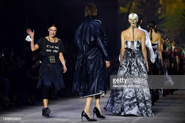 "Designer Isabel Vollrath and models walk the runway during the ""I'Vr Isabel Vollrath"" Show at the Mercedes-Benz Fashion Week Berlin September 2021 at..."