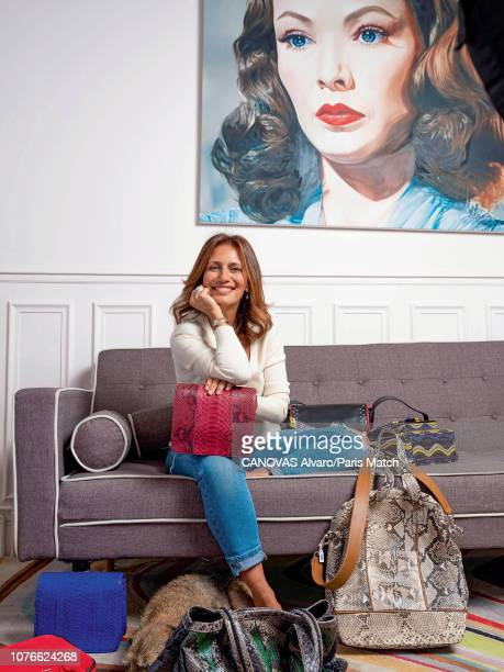 Designer Isabelle Farrugia is photographed for Paris Match at home on November 18 2018 in Paris France