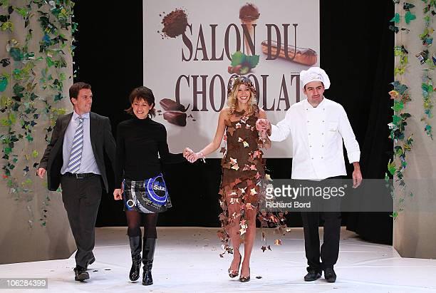 Designer Isabelle Teste and Miss France 2006 Alexandra Rosenfeld attend the Chocolate dress fashion show celebrating Salon du Chocolat 2010 Opening...