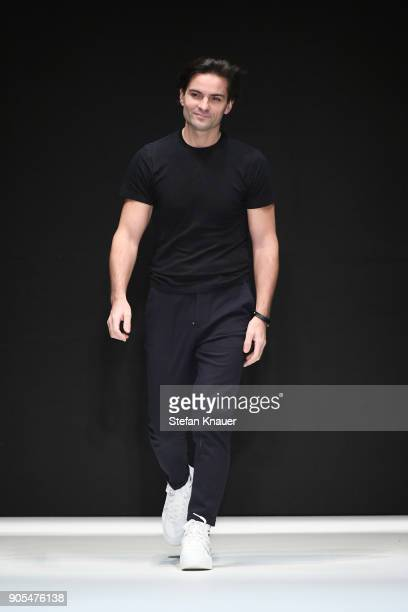 Designer Ivan Mandzukic acknowledges the applause of the audience after the Ivanman show during the MBFW Berlin January 2018 at ewerk on January 16...