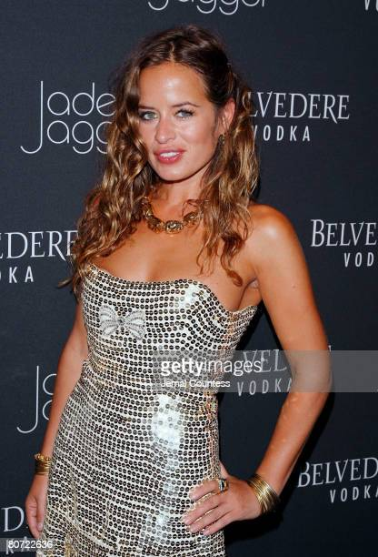 Designer Jade Jagger poses for a photo at the unveiling of the $250000 Belvedere Jagger Dagger at The Angel Orensanz Foundation on April 16 2009 in...