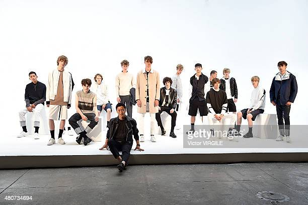Designer Jae Wan Park with models at the Plac Presentation during New York Fashion Week: Men's S/S 2016at Industria Superstudio on July 13, 2015 in...
