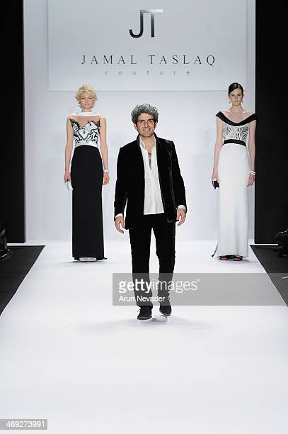 Designer Jamal Taslaq walks the runway at the FLT Moda Art Hearts Fashion show presented by AIDS Healthcare Foundation during MercedesBenz Fashion...