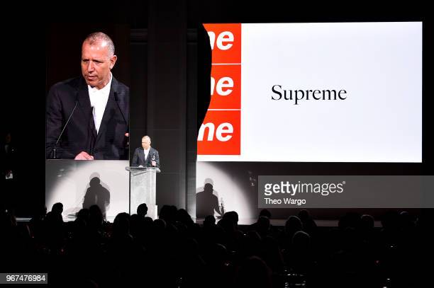 Designer James Jebbia accepts the 2018 CFDA Menswear Designer of The Year award onstage during the 2018 CFDA Fashion Awards at Brooklyn Museum on...