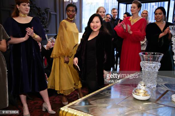 Designer Jasmine Chong greets the crowd during the Jasmine Chong x GBGH Fall 2018 New York Fashion Week Presentation at Baccarat Hotel on February 10...