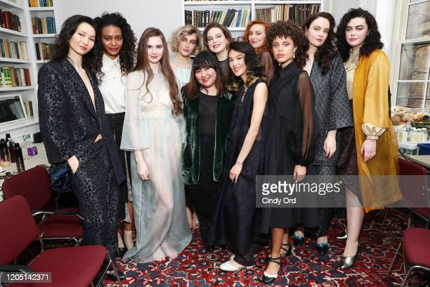 Designer Jasmine Chong poses with models after the Jasmine Chong runway show during New York Fashion Week on February 09 2020 in New York City