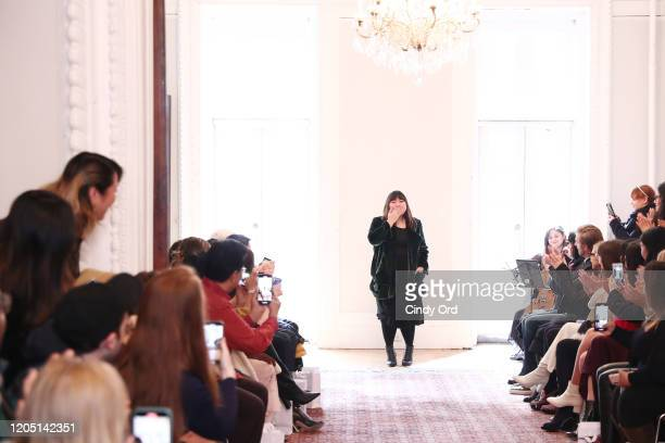 Designer Jasmine Chong walks the runway after the Jasmine Chong runway show during New York Fashion Week on February 09 2020 in New York City