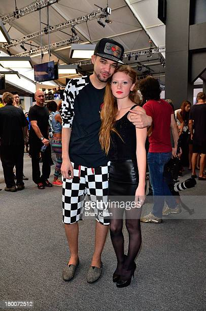 Designer Jason Christopher Peters and Gina Cattanach attend the Tracy Reese show during Spring 2014 MercedesBenz Fashion Week at The Studio at...