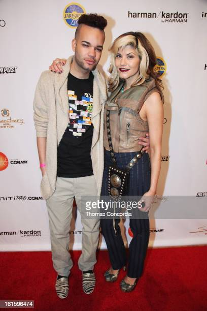 Designer Jason Christopher Peters and Sharie Manon attend the Tumbler And Tipsy By Michael Kuluva Fashion Show At CONAIR STYLE360 at STYLE360...