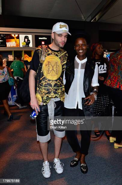 Designer Jason Christopher Peters and Stacey Jordan attend the Malan Breton show during Spring 2014 MercedesBenz Fashion Week at The Box at Lincoln...