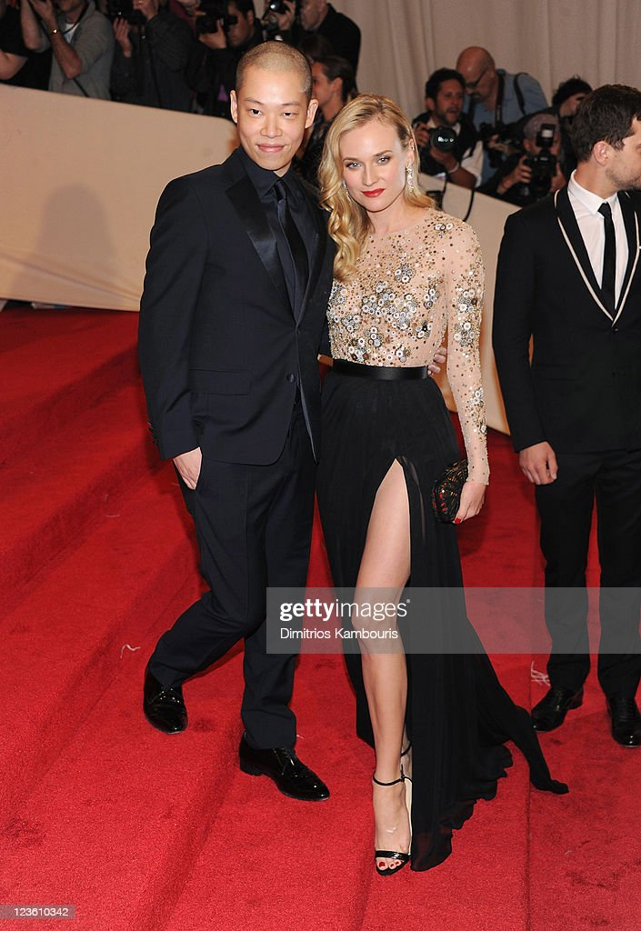 Designer Jason Wu (L) and actress Diane Kruger attend the 'Alexander McQueen: Savage Beauty' Costume Institute Gala at The Metropolitan Museum of Art on May 2, 2011 in New York City.