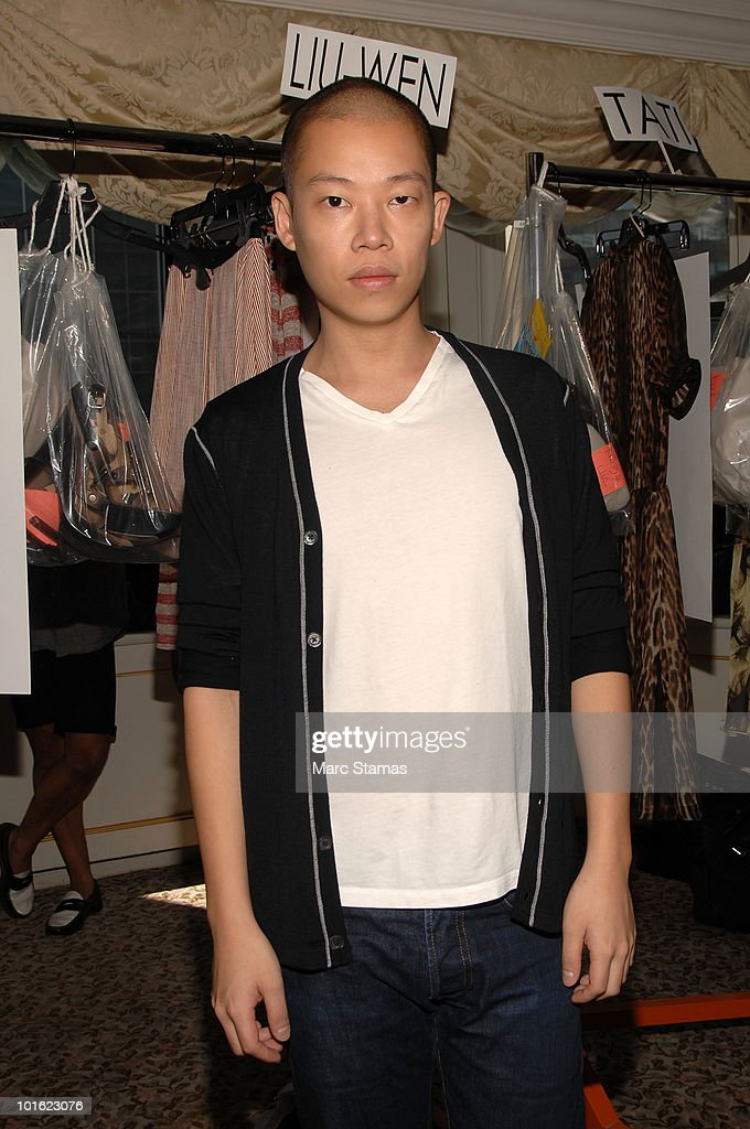 Designer Jason Wu poses backstage at the Jason Wu Resort 2011 Collection at The St. Regis on June 4, 2010 in New York City.