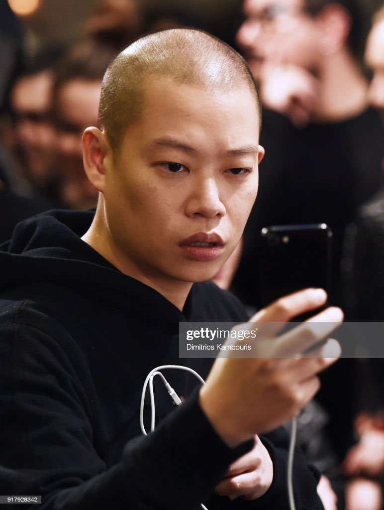 Designer Jason Wu poses backstage for BOSS Womenswear during New York Fashion Week at Cedar Lake on February 13, 2018 in New York City.