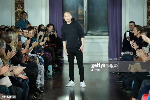 Designer Jason Wu walks the runway after the finale of the Jason Wu collection during, New York Fashion Week at The St. Regis on February 10, 2017 in...