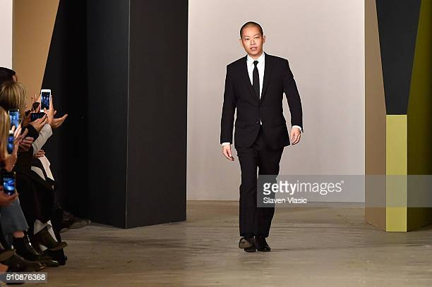 Designer Jason Wu walks the runway wearing Boss Womenswear Fall 2016 during New York Fashion Week: The Shows on February 17, 2016 in New York City.