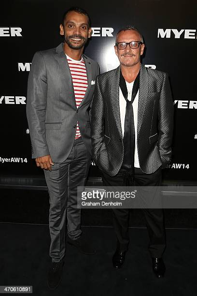 Designer Jayson Brunsdon and Aaron Elias arrive at the Myer Autumn Winter 2014 Fashion Launch at Myer Mural Hall on February 20 2014 in Melbourne...