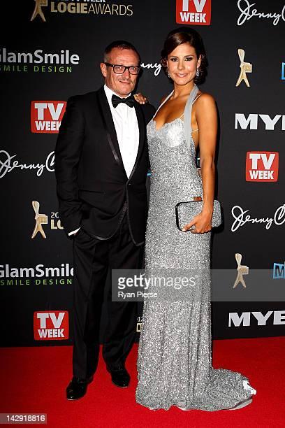 Designer Jayson Brunsdon and TV Presenter Lauren Phillips arrive at the 2012 Logie Awards at the Crown Palladium on April 15 2012 in Melbourne...