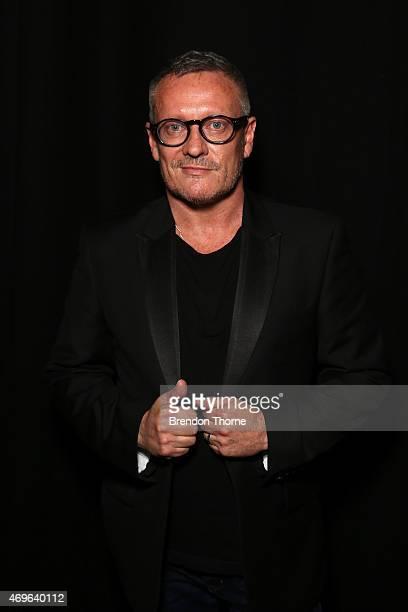 Designer Jayson Brunsdon poses backstage ahead of the Jayson Brunsdon show at MercedesBenz Fashion Week Australia 2015 at Carriageworks on April 14...