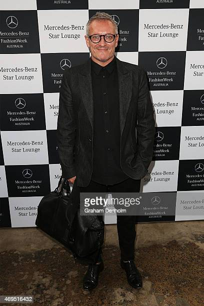 Designer Jayson Brunsdon poses during the DNSW Welcome at MercedesBenz Fashion Week Australia 2015 at Carriageworks on April 13 2015 in Sydney...