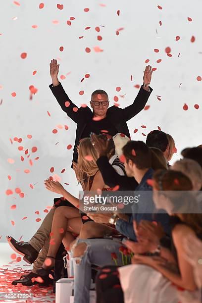 Designer Jayson Brunsdon thanks guests following the Jayson Brunsdon show at MercedesBenz Fashion Week Australia 2015 at Carriageworks on April 14...