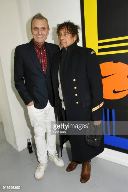 Designer Jean Charles de Castelbajac and singer Laurent Voulzy attend 'I Want The Empire of Collaborations' Jean Charles de Castelbajac Exhibition...