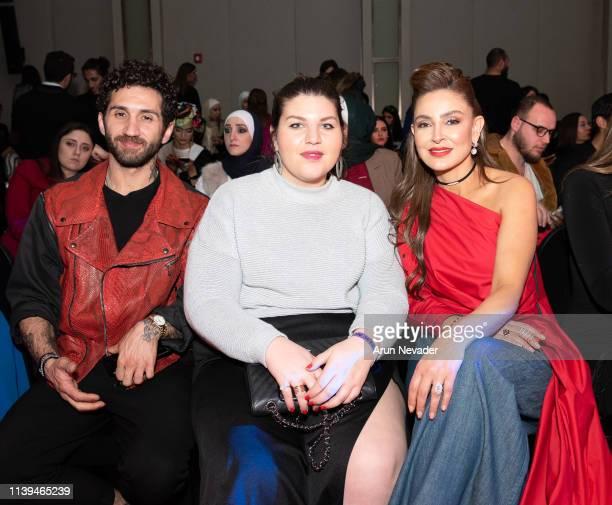 Designer Jean Louis Sabaji Rouba Souhaid and Founder of Jordan Fashion Week Shirene Rifai attend Jordan Fashion Week 019 on March 30 2019 at the...