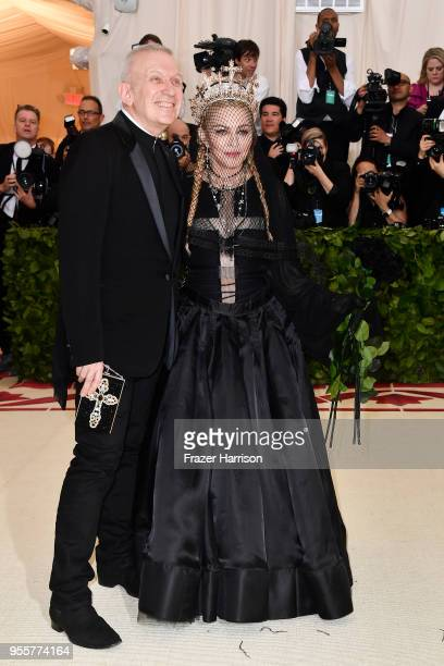 Designer Jean Paul Gaultier and Madonna attend the Heavenly Bodies Fashion The Catholic Imagination Costume Institute Gala at The Metropolitan Museum...