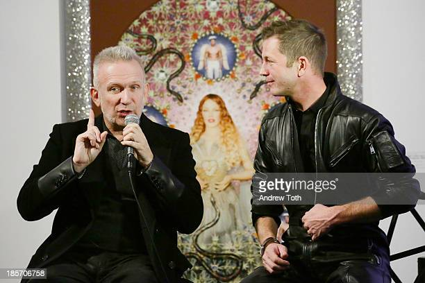Designer Jean Paul Gaultier and ThierryMaxime Loriot speak during the press preview for The Fashion World of Jean Paul Gaultier From the Sidewalk to...