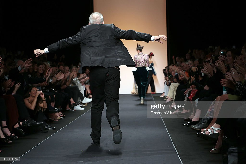 Designer Jean Paul Gaultier runs the runway during his Houte Couture Paris fashion show as part of AltaRoma AltaModa Fashion Week at Santo Spirito in Sassia on July 7, 2013 in Rome, Italy.