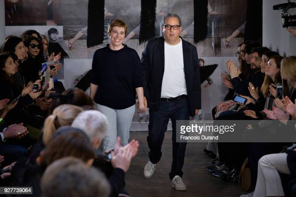 Designer Jean Touitou walks the runway during the APC show as part of the Paris Fashion Week Womenswear Fall/Winter 2018/2019 on March 5 2018 in...
