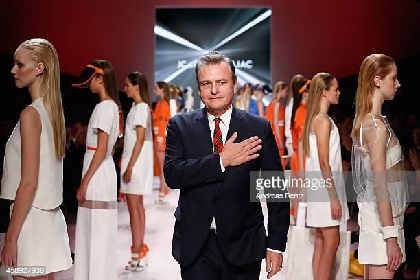 Designer JeanCharles de Castelbajac walks the runway after his show during the MercedesBenz Fashion Days Zurich 2014 on November 13 2014 in Zurich...
