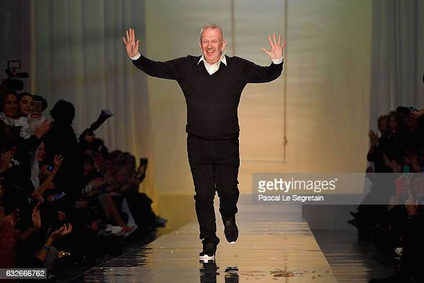 Designer JeanPaul Gaultier is seen on the runway during the Jean Paul Gaultier Spring Summer 2017 show as part of Paris Fashion Week on January 25...