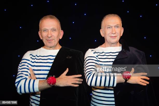 Designer JeanPaul Gaultier poses with his new wax work at Musee Grevin on December 18 2017 in Paris France