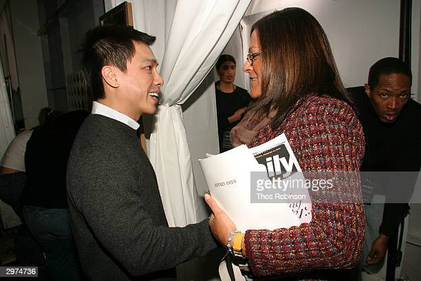 Designer Jeffrey Chow greets Fern Mallis executive director of 7th on Sixth backstage at the Jeffrey Chow Fall 2004 during Olympus Fashion Week...