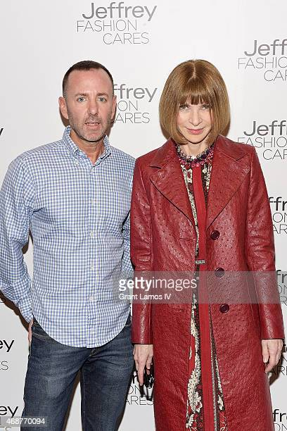 Designer Jeffrey Kalinsky and Anna Wintour attend the Jeffrey Fashion Cares 2015 at ArtBeam on April 6 2015 in New York City