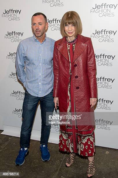 Designer Jeffrey Kalinsky and Anna Wintour attends the Jeffrey Fashion Cares 2015 at ArtBeam on April 6 2015 in New York City