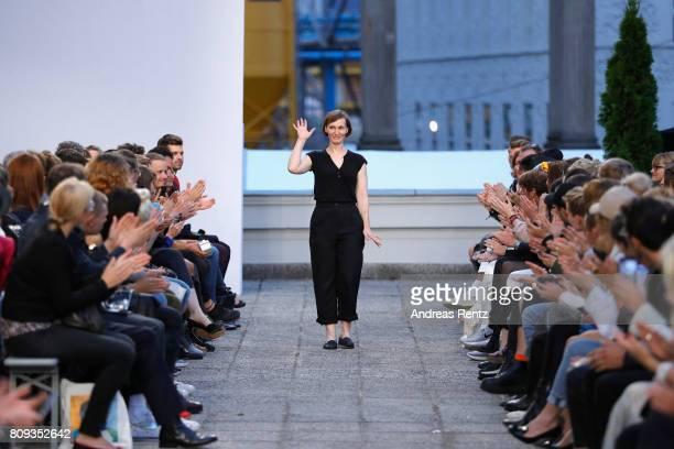Designer Jennifer Brachmann poses after the Brachmann Defile during 'Der Berliner Mode Salon' Spring/Summer 2018 at Kronprinzenpalais on July 5 2017...