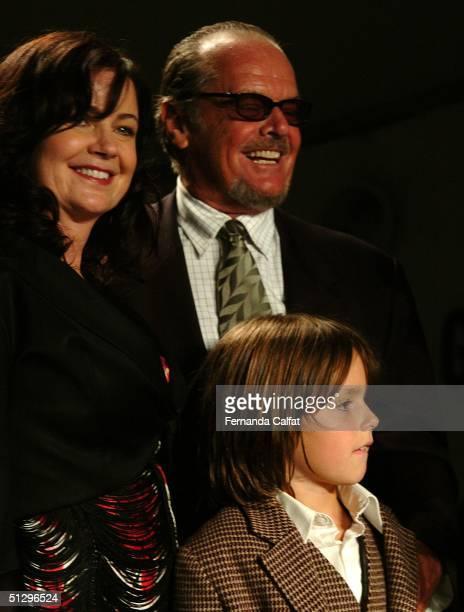 Designer Jennifer Nicholson her son Shawn and father/actor Jack Nicholson pose at the Jennifer Nicholson show during Olympus Fashion Week Spring 2005...