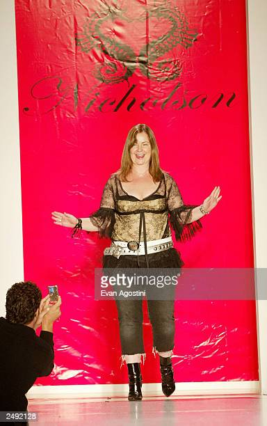 Designer Jennifer Nicholson takes a bow at the Jennifer Nicholson Spring/Summer 2004 Fashion Show during MercedesBenz Fashion Week at Bryant Park...