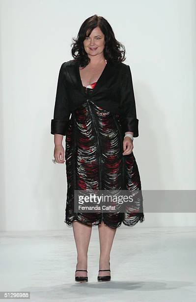 Designer Jennifer Nicholson walks down the runway after her show during the Olympus Fashion Week Spring 2005 at Bryant Park September 12 2004 in New...