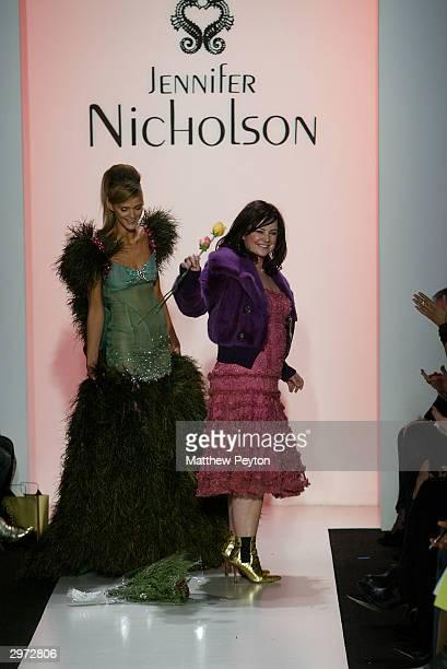 Designer Jennifer Nicholson walks down the runway at the Jennifer Nicholson Fall 2004 Fashion show on Febraury 11 2004 during Olympus 2004 Fashion...