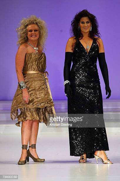 Designer Jenny Bannister and a model appear on the catwalk at Salon Show 4 on the fifth day of the L'Oreal Melbourne Fashion Festival 2007 at the...
