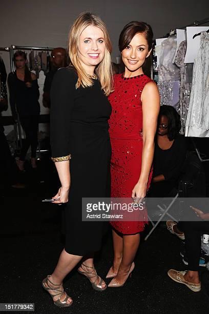 Designer Jenny Packham and actress Minka Kelly pose backstage at TRESemme at Jenny Packham Spring 2013 during Mercedes-Benz Fashion Week at The...