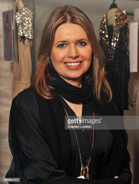 Designer Jenny Packham poses backstage at the Jenny Packham Fall 2012 fashion show during MercedesBenz Fashion Week at The Studio at Lincoln Center...